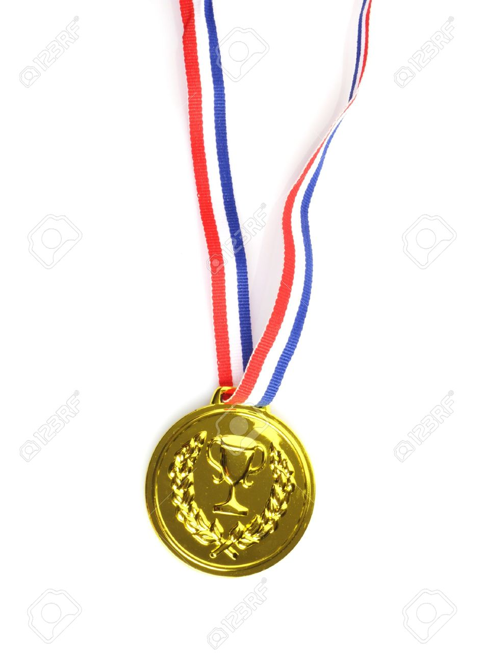 gold medal with ribbon on white background Stock Photo - 11475568