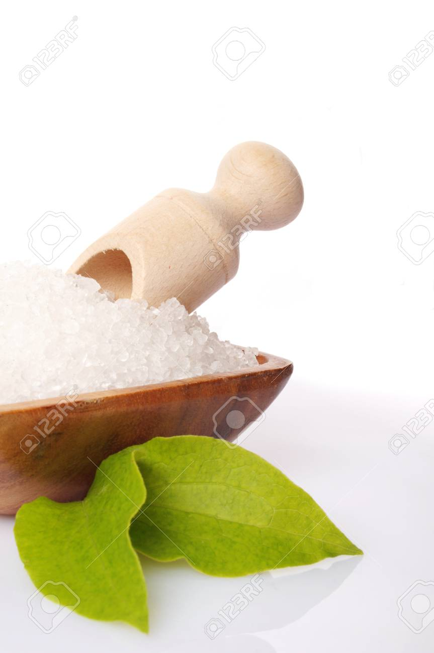 bay salt with green leave on white background Stock Photo - 13238760