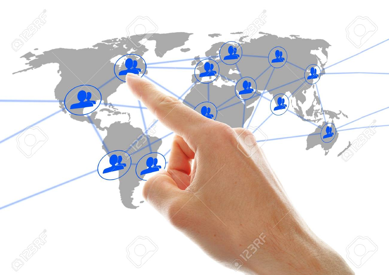 businessman hand pressing social network icon on a virtual background Stock Photo - 13952540