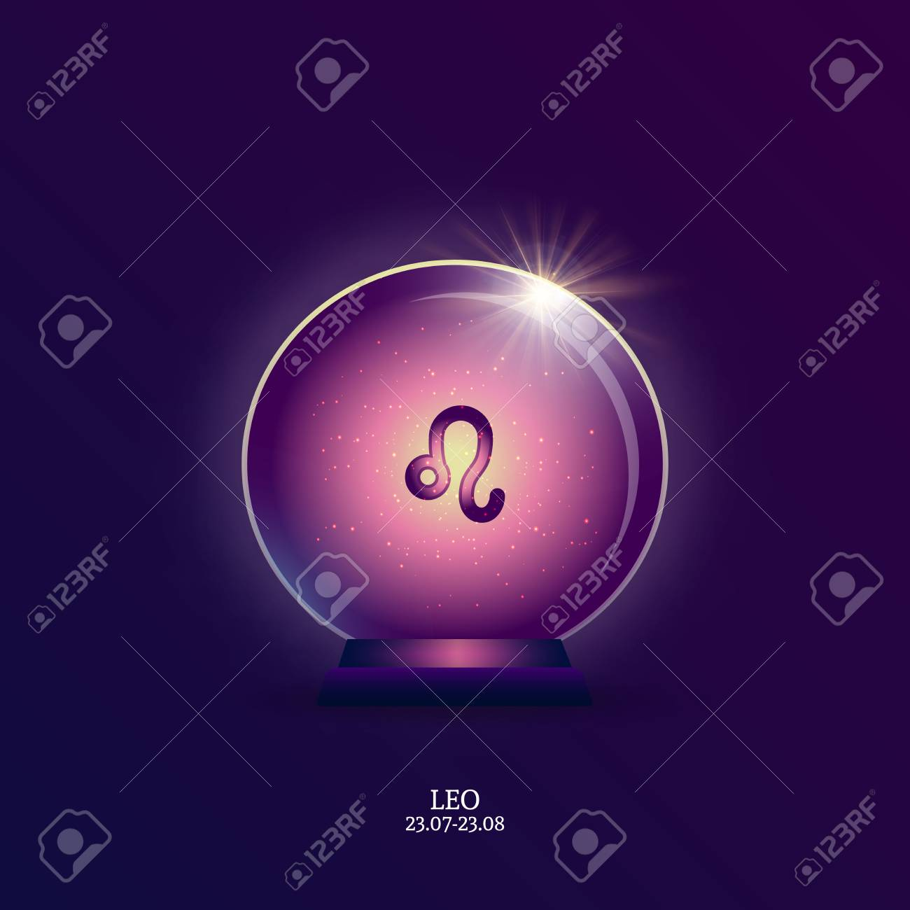 Leo  Horoscope sign  Zodiac Icon in magic ball