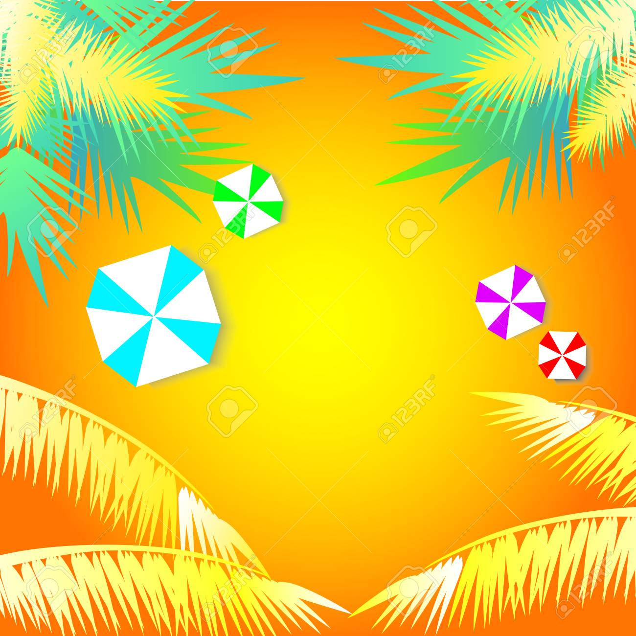 summer background with colorful umbrella and coconut tree royalty