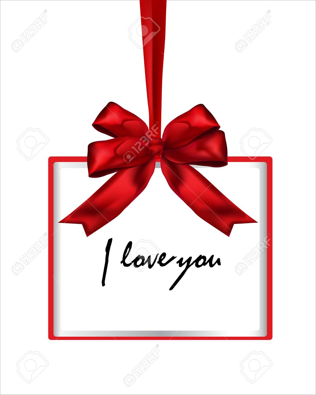 I Love You, Red Vector Gift Box Frame With Bow And Ribbon On ...