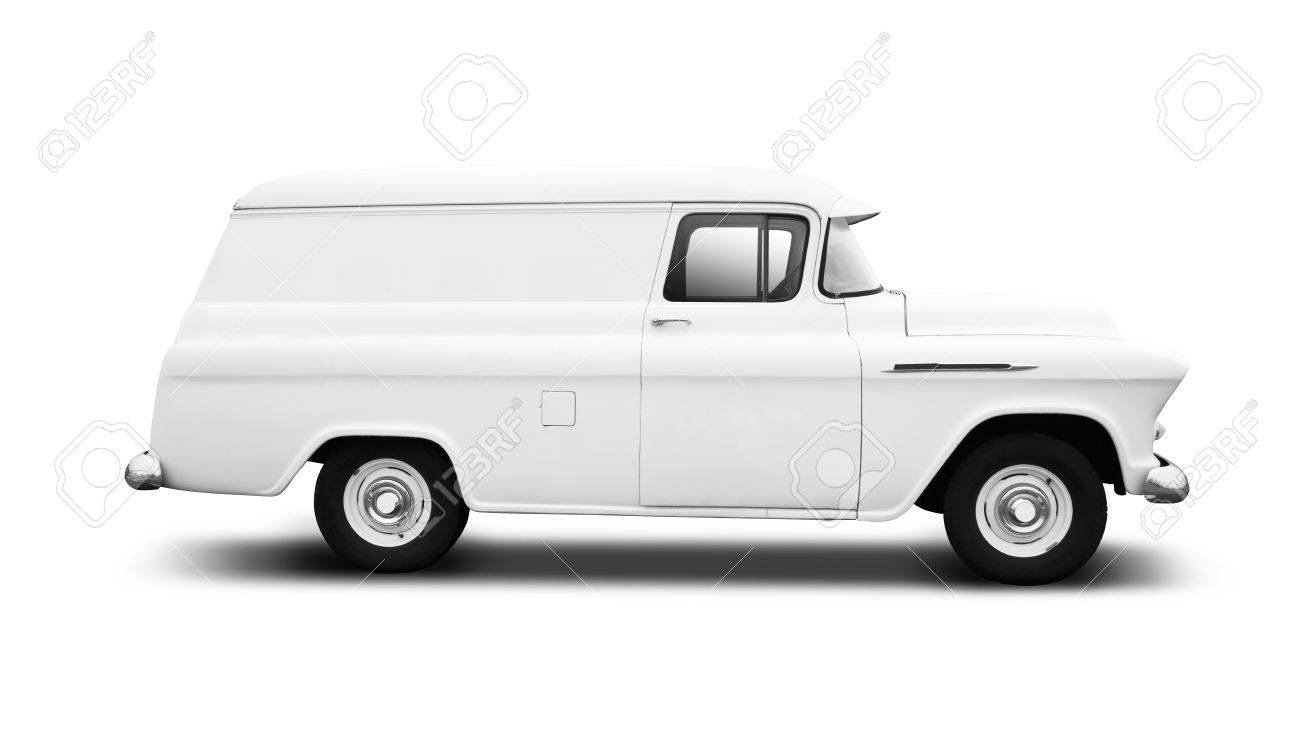 7e5a6f2302 Stock Photo - Vintage White Delivery Van on White with drop shadow side view