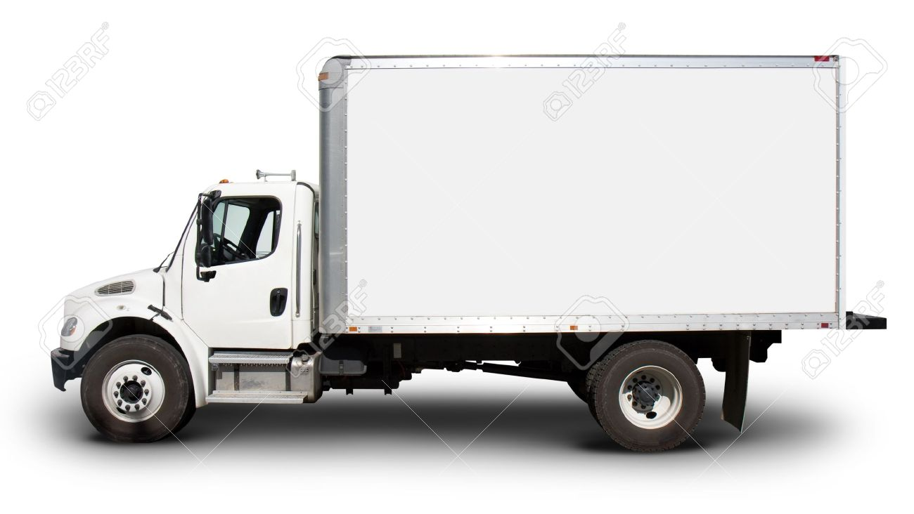 Plain white delivery truck with blank sides and blank cab, ready for custom text or logos Stock Photo - 13001260
