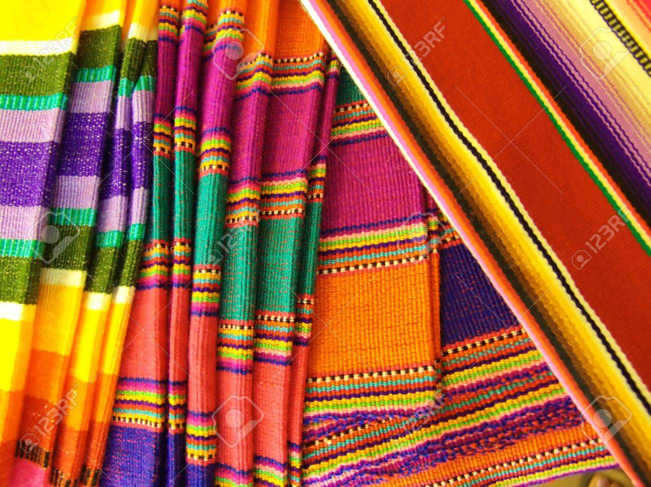 Colorful Mexican Blankets. Taken in Cozumel, Mexico. - 2676198
