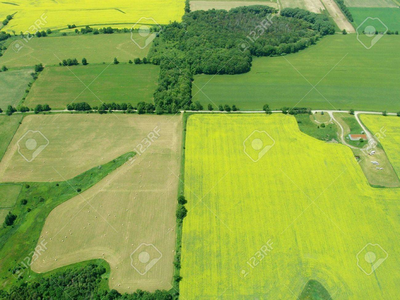 Typical aerial view of green fields and farms, Ontario, Canada - 2706341