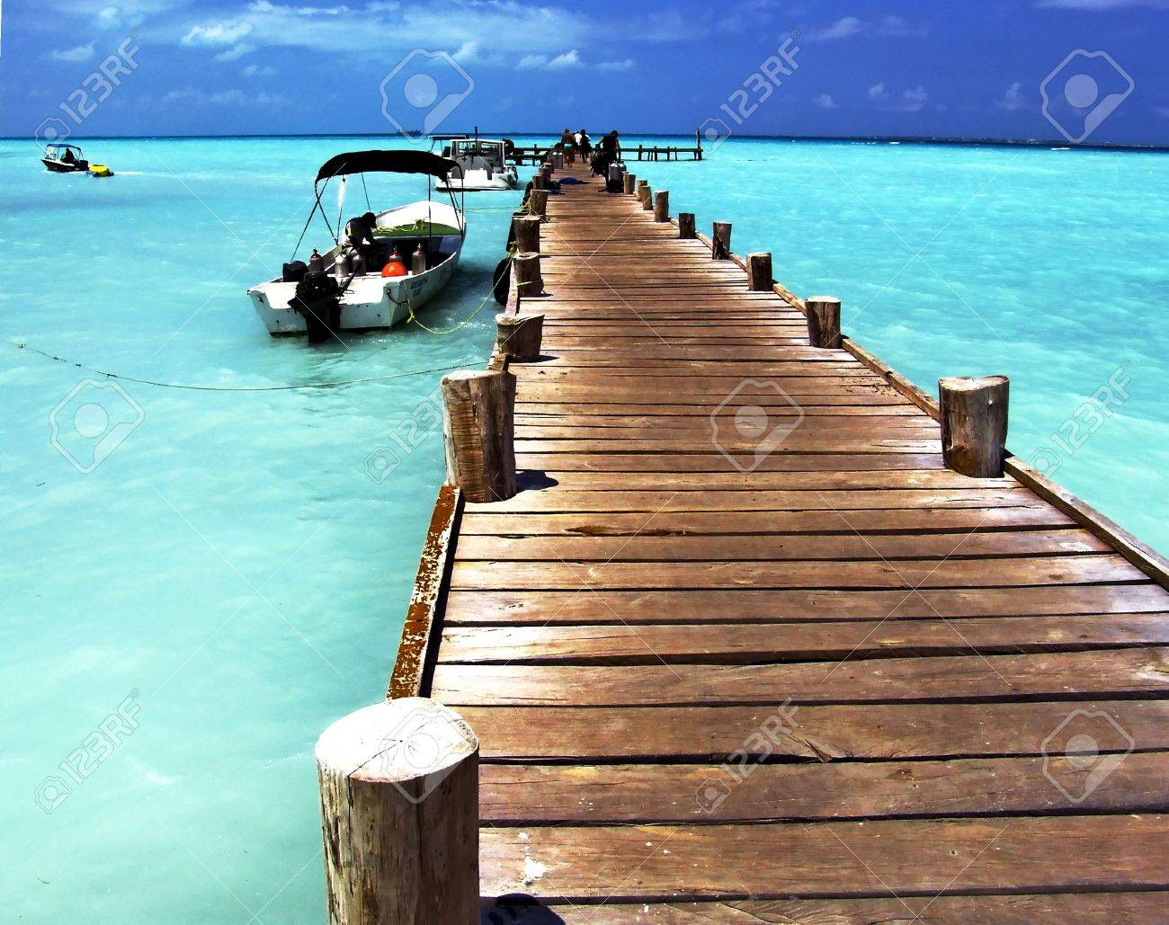 Planked foot way to ocean, Caribbean Sea, Cancun, Mexico - 2735741