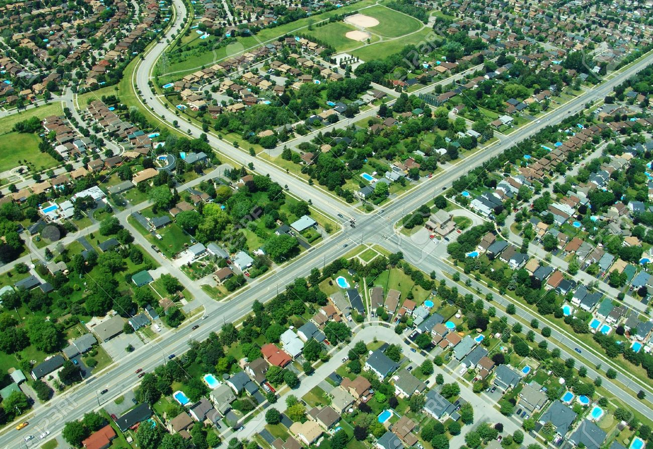 Aerial view of residential area in typical suburb home community in Ontario, Canada Stock Photo - 2743154