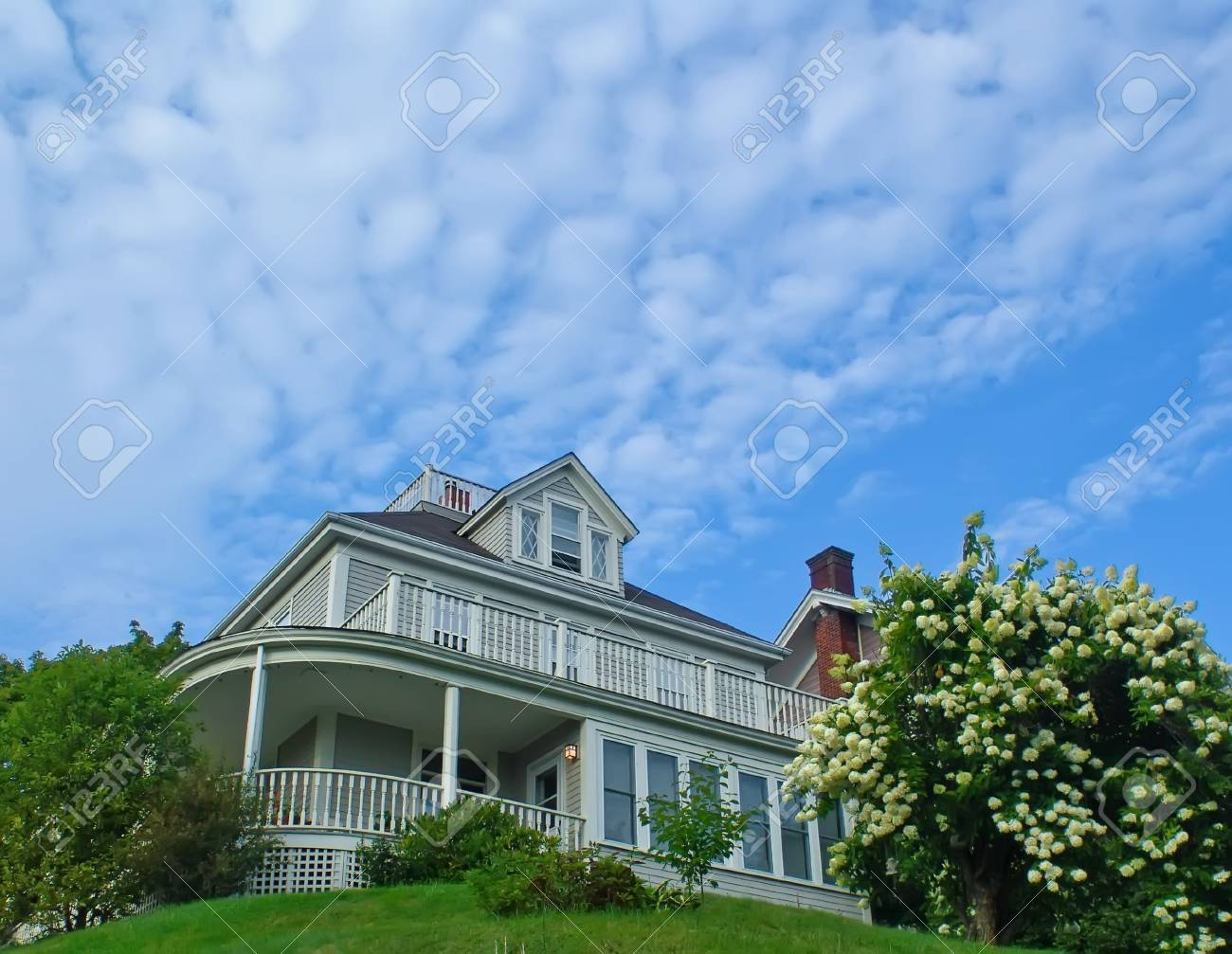 Real Estate: Detached House on the hill in blooming garden. - 5425760