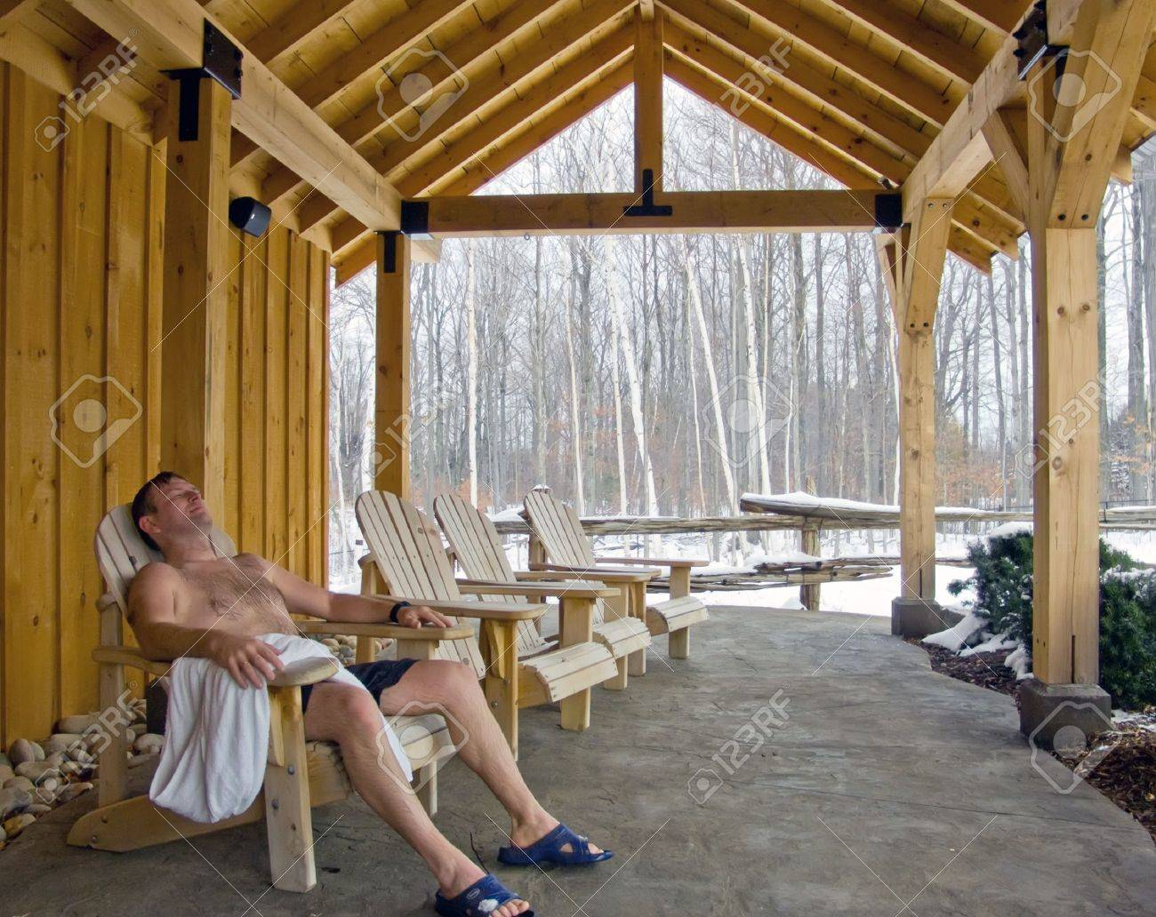 Man relaxing outdoor in spa. Winter, snow. - 5420525