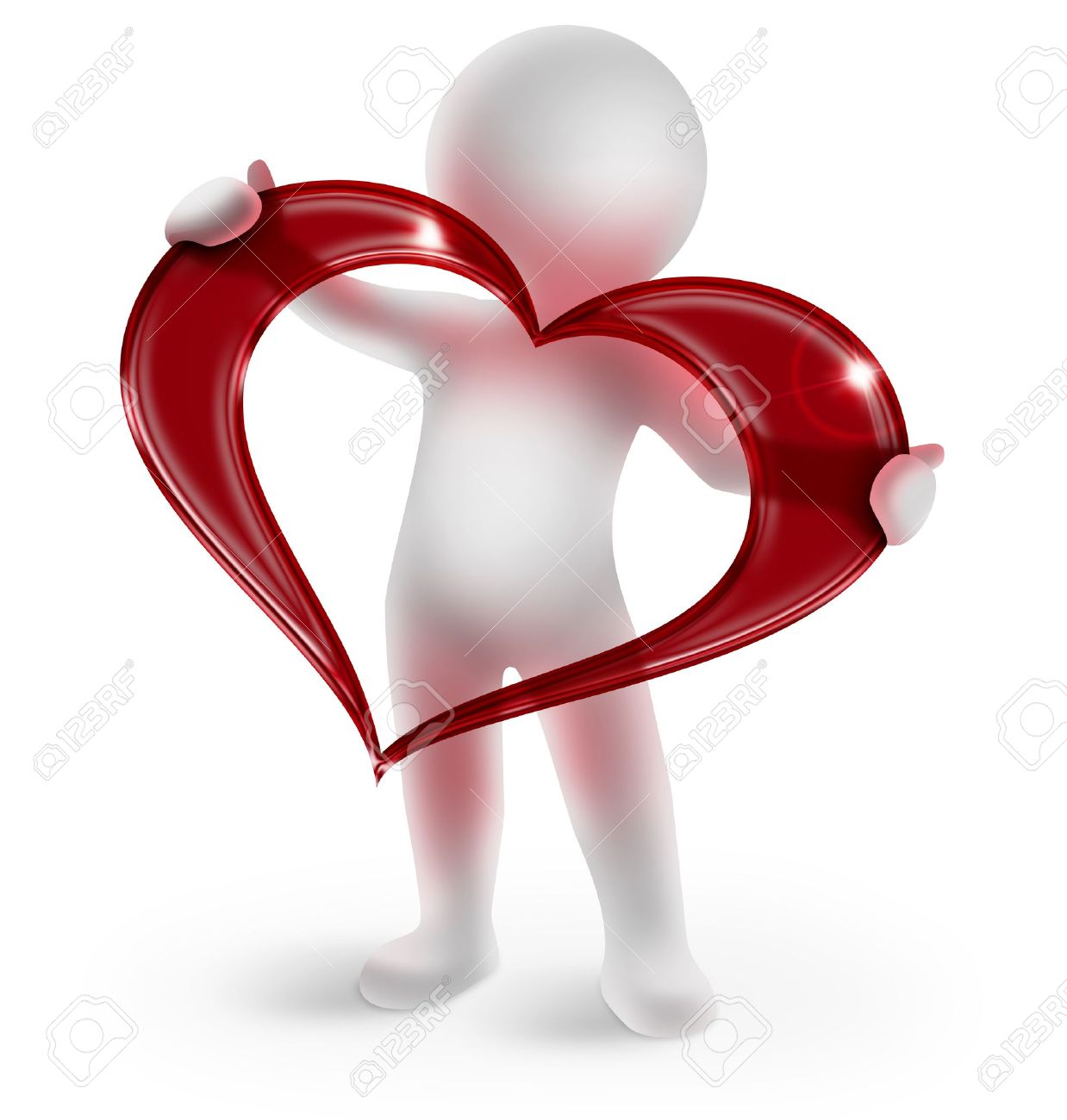 3d man holding a glossy red heart on white background Stock Photo - 15913612
