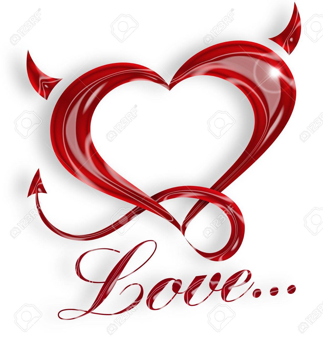 illustration of a red heart with horns and tail Stock Illustration - 16135111