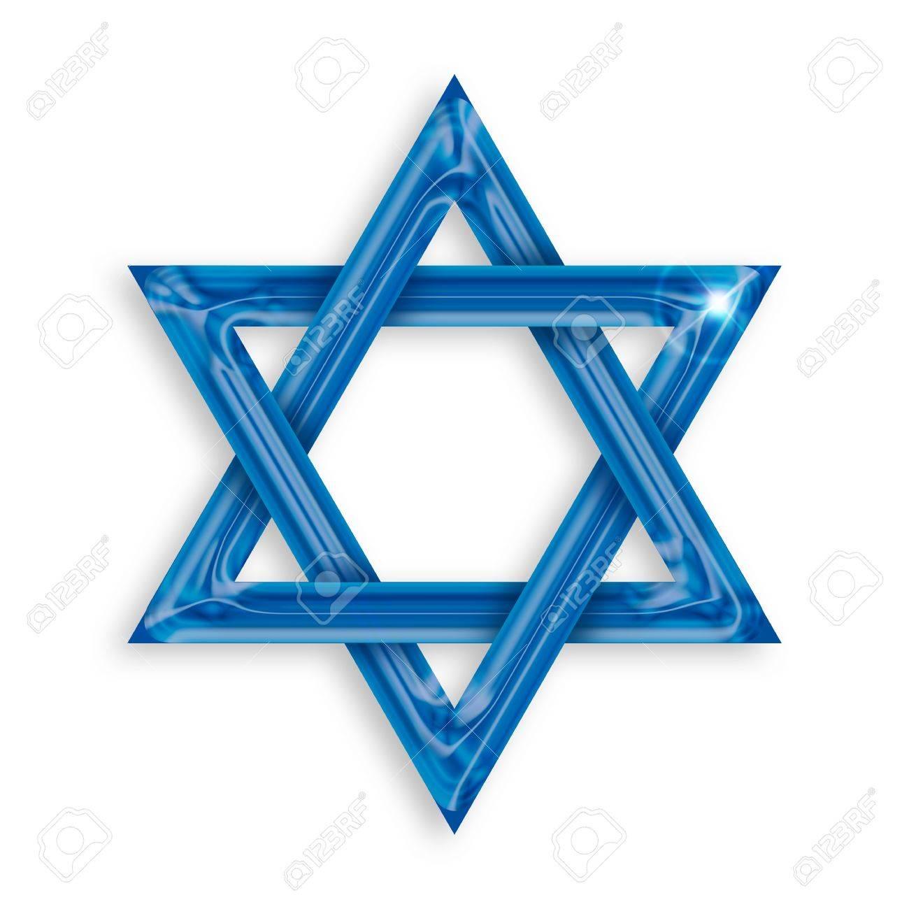 Illustration of blue hexagram on white background Stock Illustration - 16135073