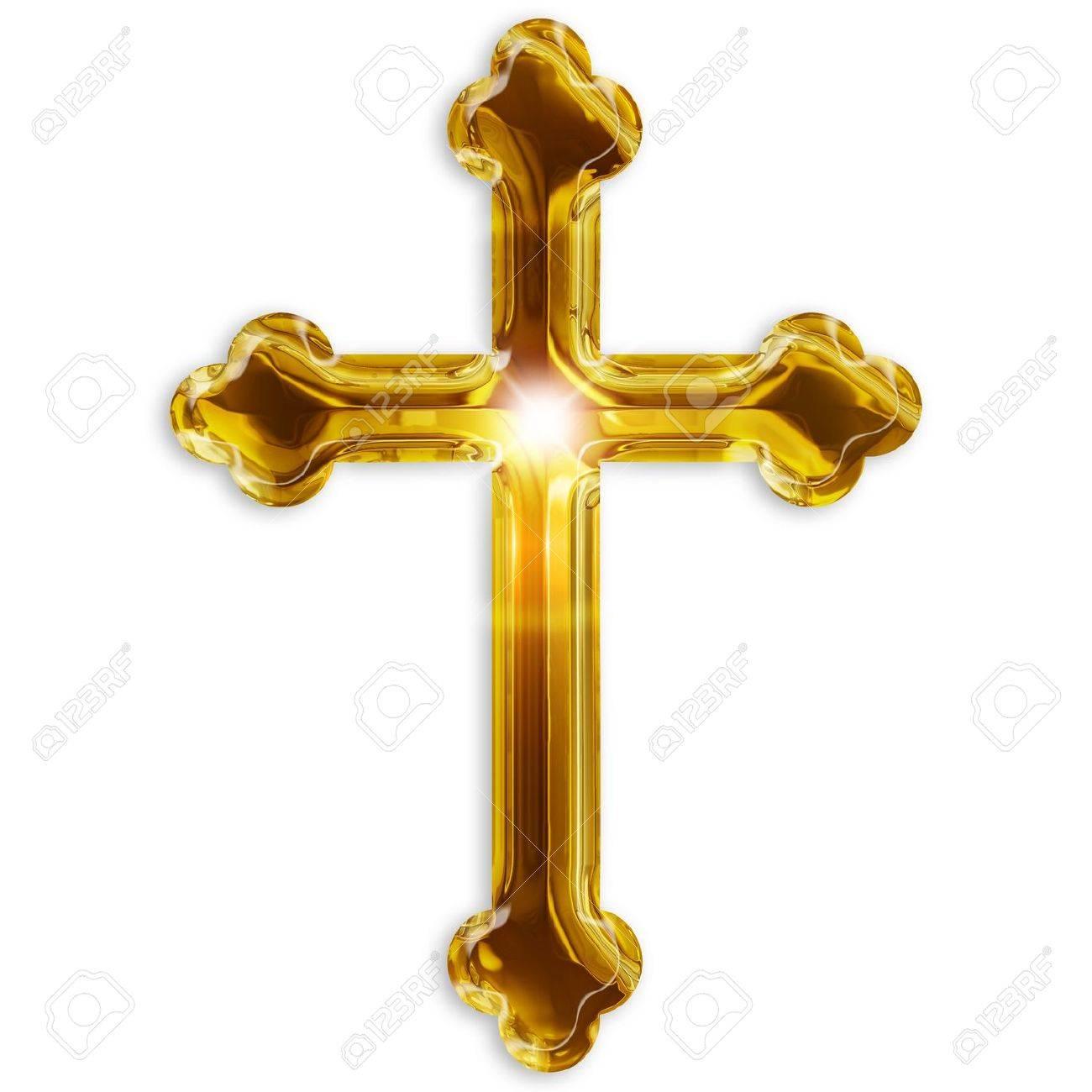 religious symbol of crucifix isolated on white background Stock Photo - 17695290