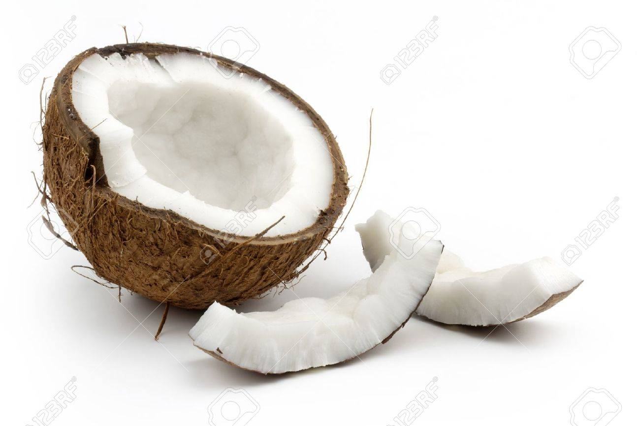 coconut cut in half on white background Stock Photo - 18384190