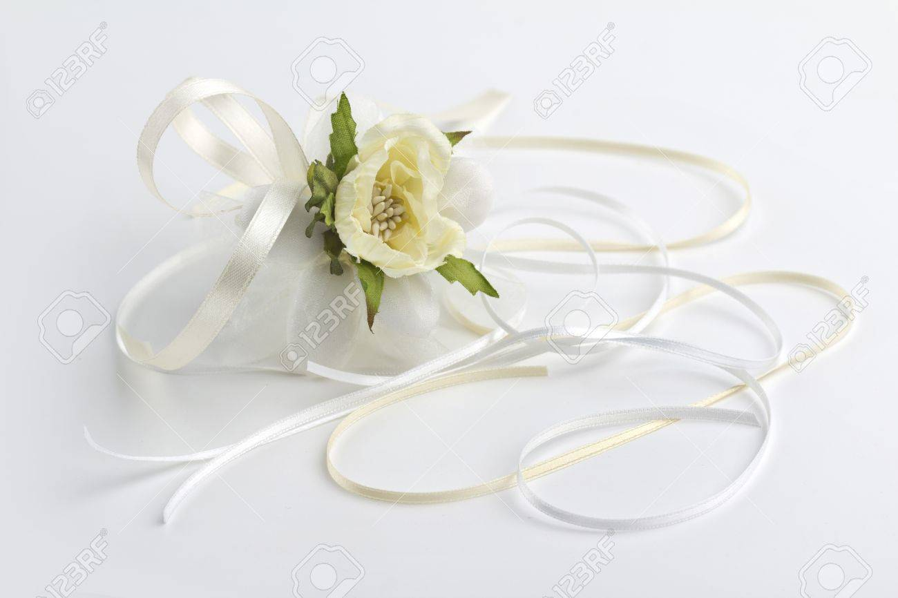 wedding favor and satin ribbons  on white background Stock Photo - 18384202