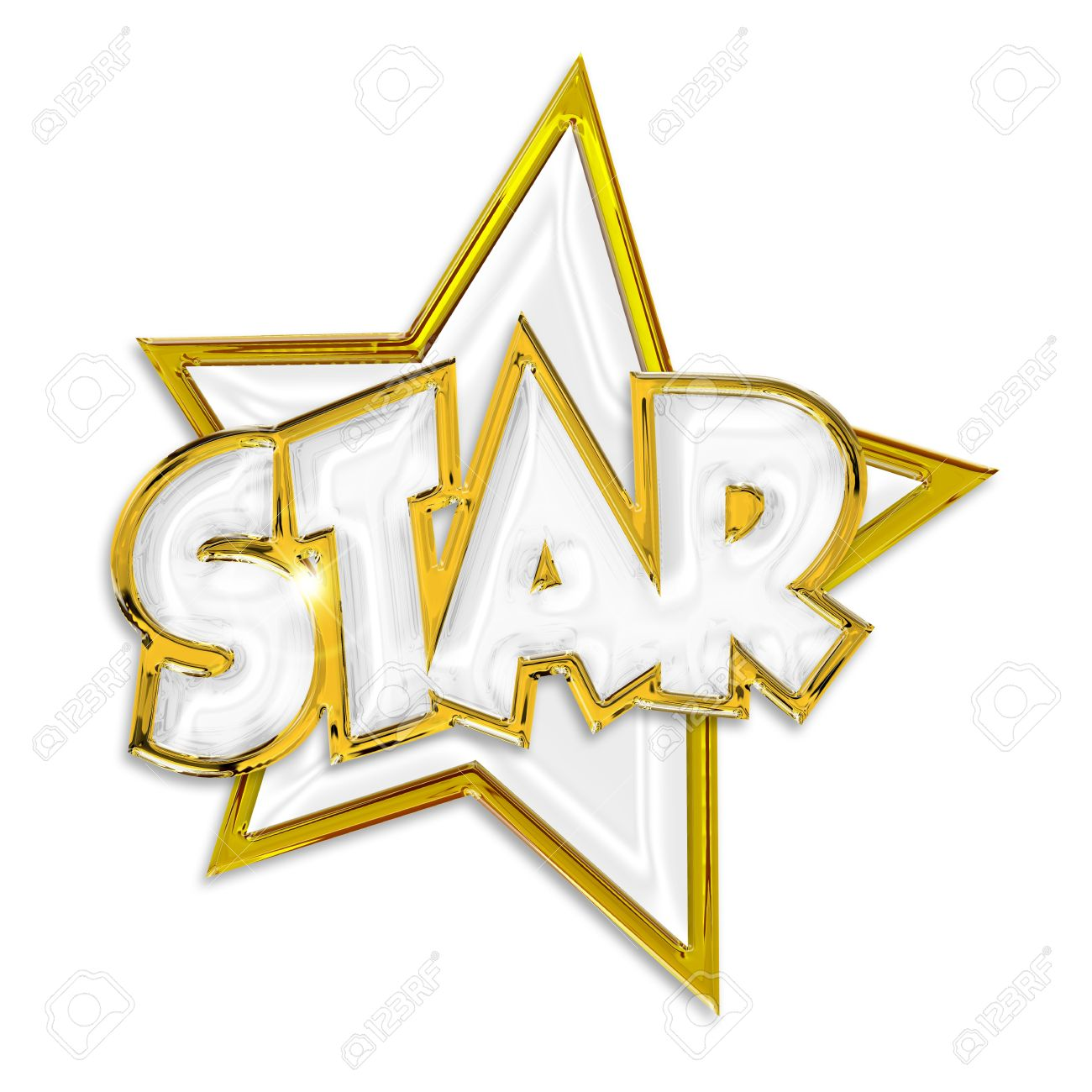 shining star word isolated on white background stock photo picture