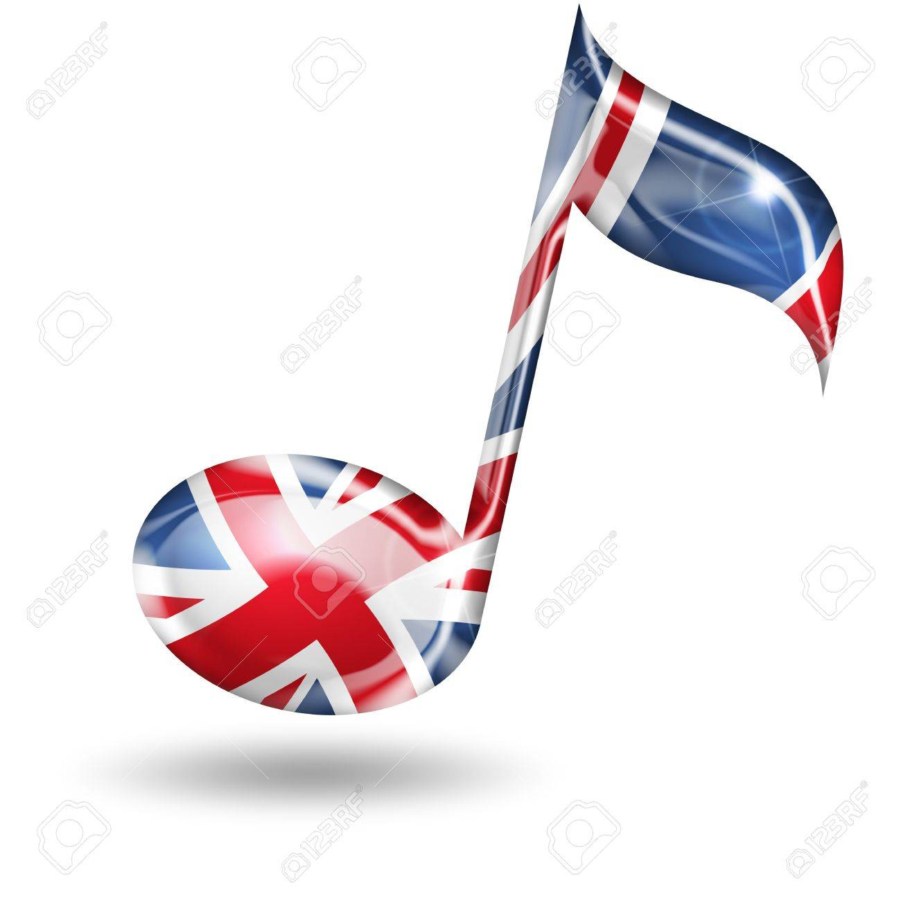 musical note with english flag colors on white background Stock Photo - 18989415