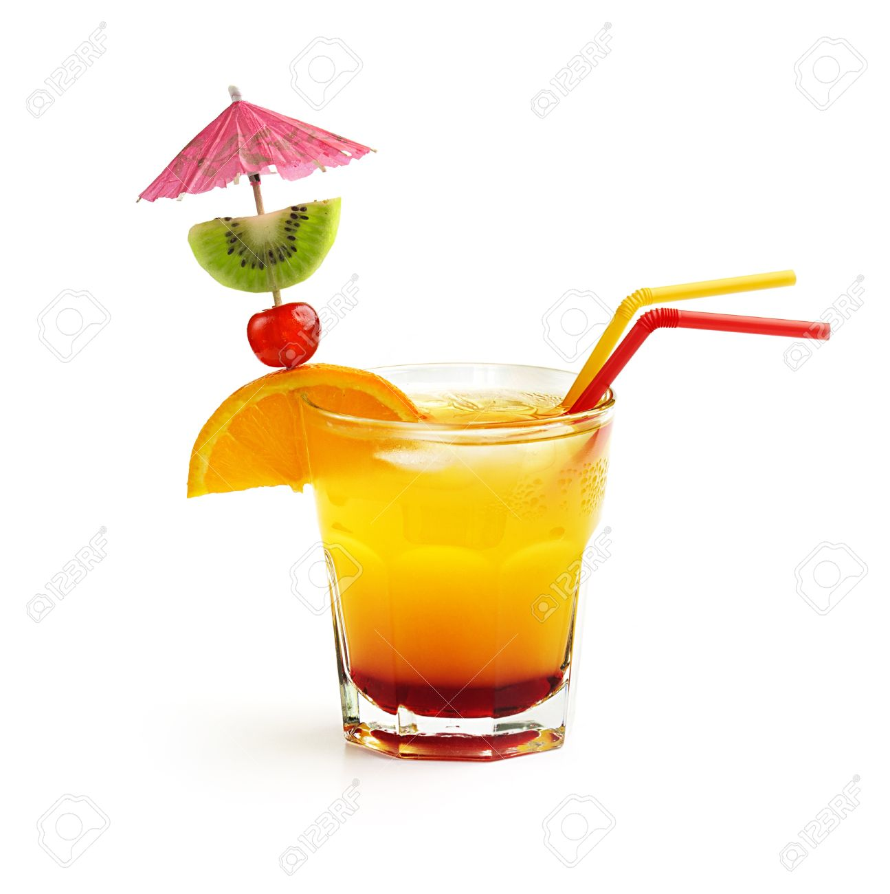 Cocktail With Fruit Decoration And Straws Isolated On White