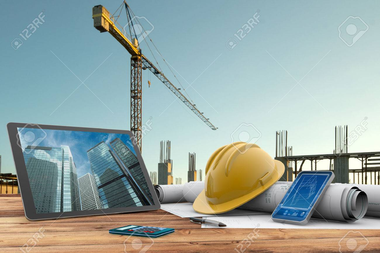 scaffold builder images stock pictures royalty scaffold scaffold builder blueprints safety helmet and computer in construction site