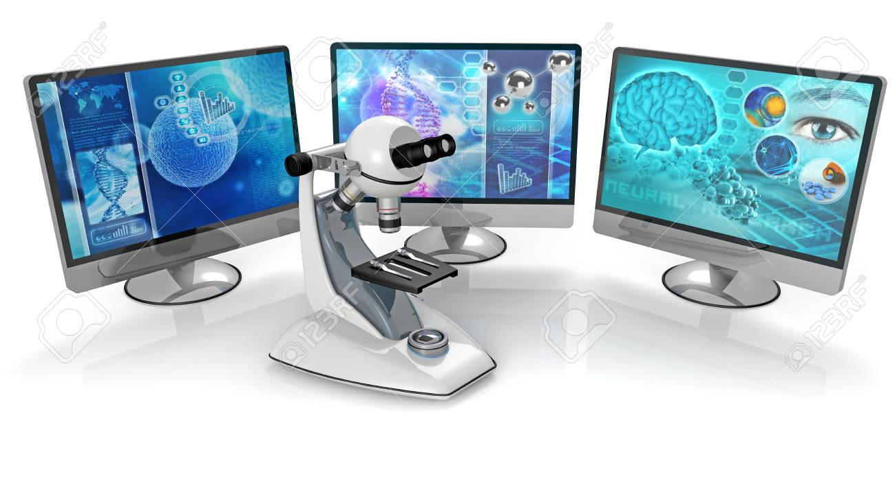 microscope and pc monitors isolated on white background - 42589749