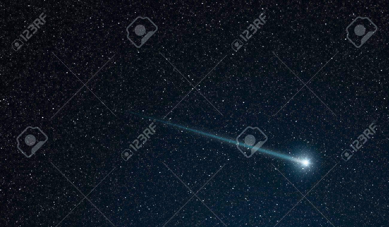 shooting star going across the star field stock photo, picture and