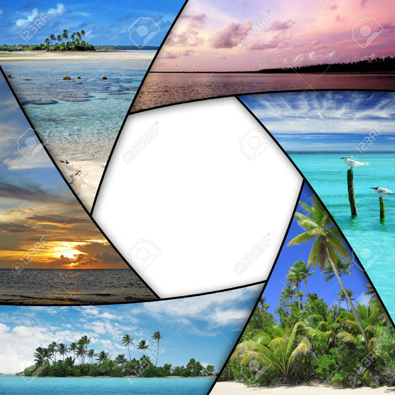 photo collage of tropical seas with blank space - 48763529