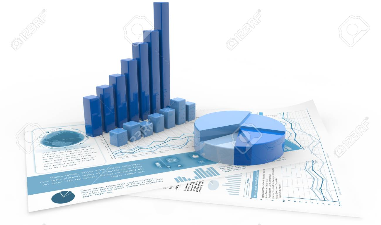 Bar Graph Pie Chart And Report Paper Isolated On White 3d