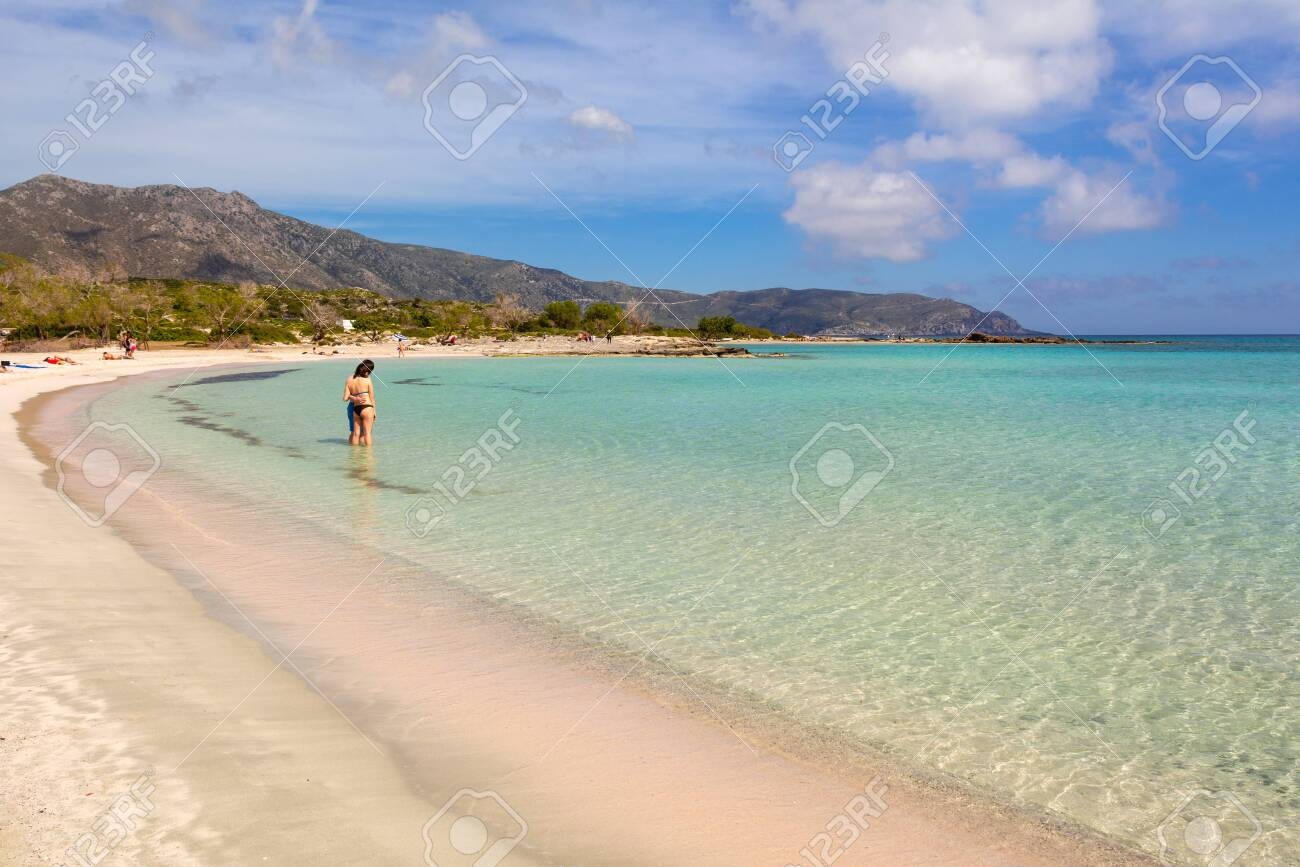 Crete Greece May 2 2015 Elafonisi Beach With Pink Sand