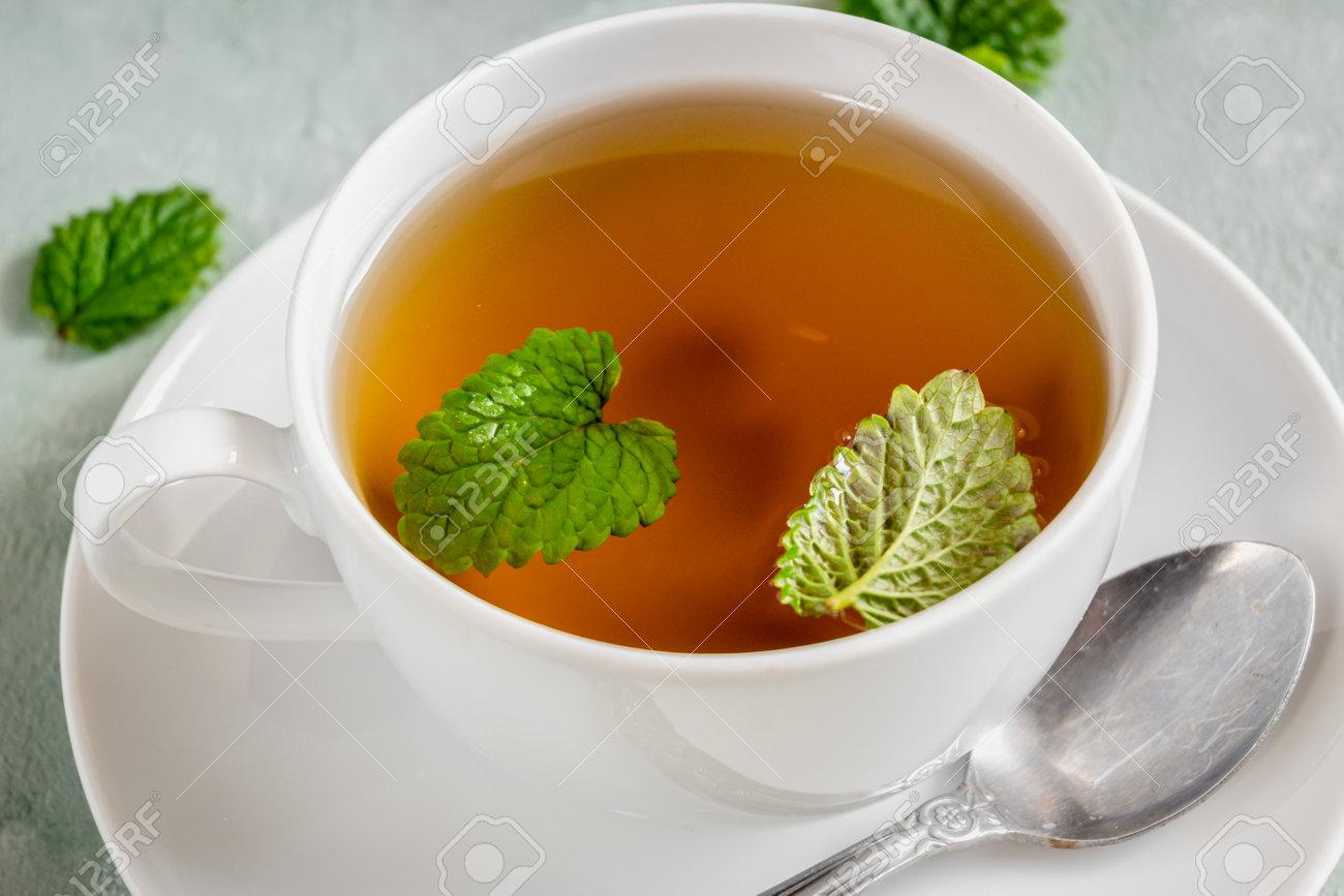Fresh lemon balm tea in a white cup. - 169664068