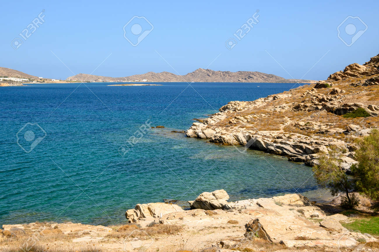 Beautiful bay with blue crystal waters in Naoussa village. Paros island, Greece - 169388173