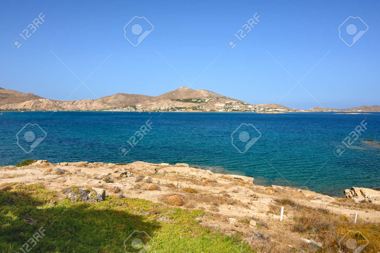 Beautiful bay with blue crystal waters in Naoussa village. Paros island, Greece - 169388174