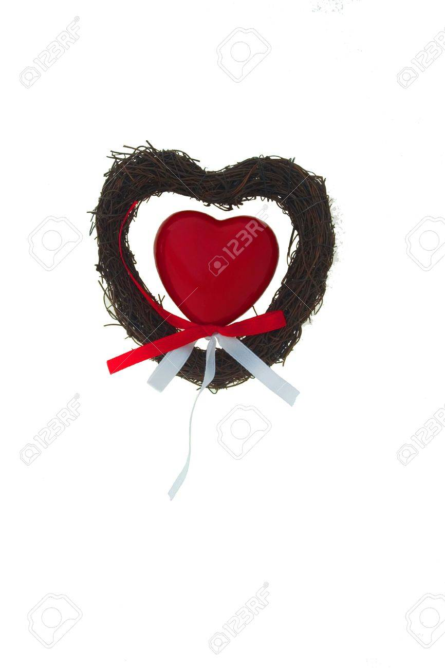 red heart on grass heart wiht colored tapes Stock Photo - 881073
