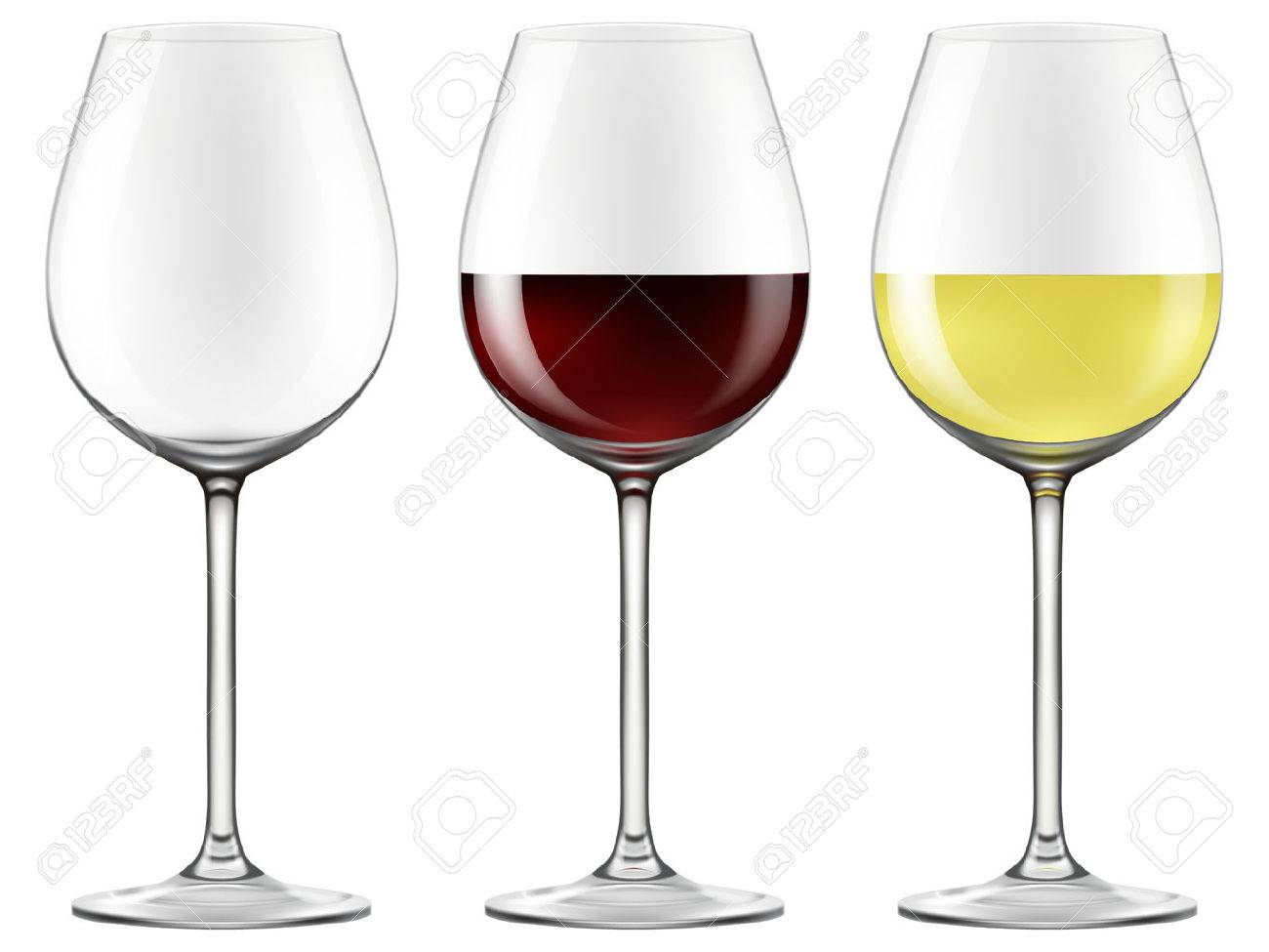 Wine glasses - empty, red wine and white wine. Photo-realistic EPS10 Vector. - 50004929