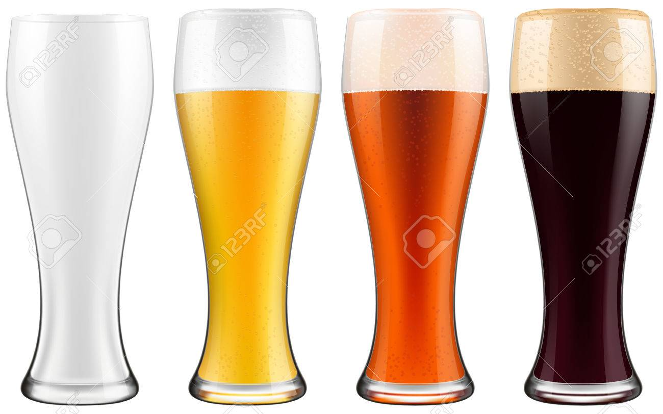 Beer glasses, four versions - empty, light beer, dark beer and amber beer. Photo-realistic EPS10 illustration. - 50057479