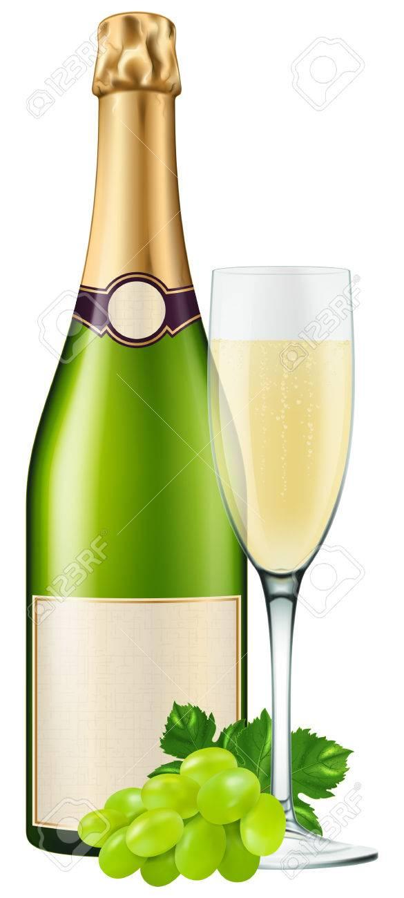 Bouteille De Champagne Avec Une Flute Et Des Raisins Photo Realiste