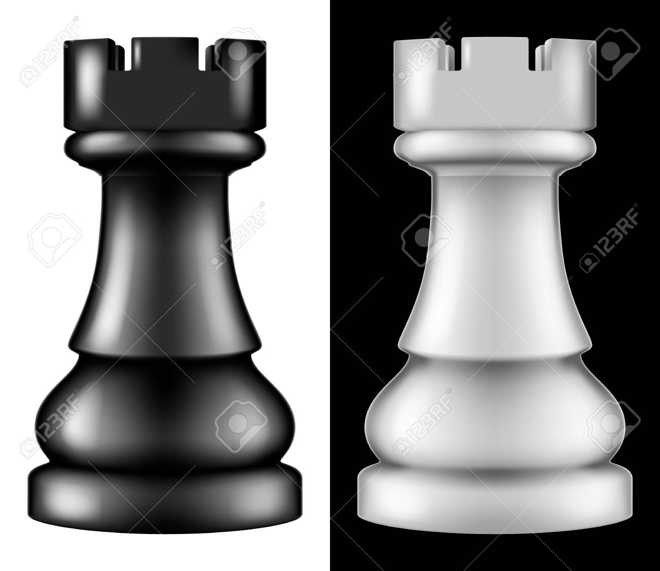 Chess piece Rook, two versions - white and black  Vector illustration