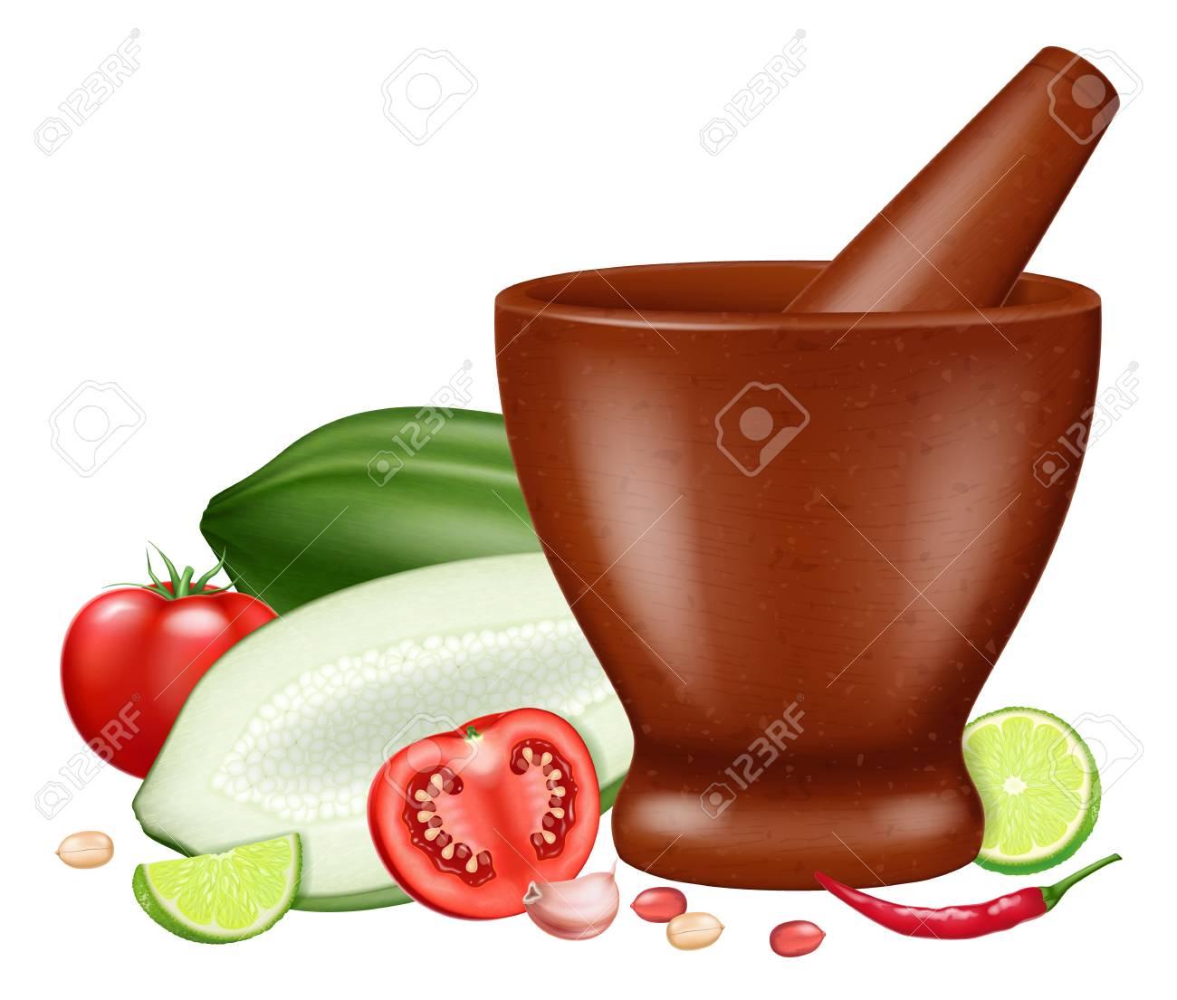 Green papaya salad or Som Tam. Vector illustration. - 114846662