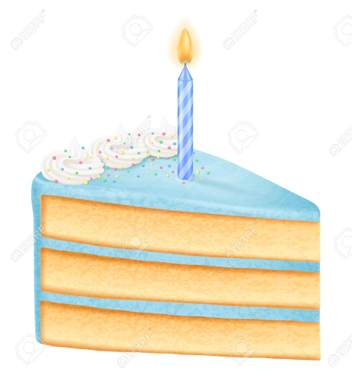 Excellent Slice Of Birthday Cake With Candle Boy Variation Vector Personalised Birthday Cards Paralily Jamesorg