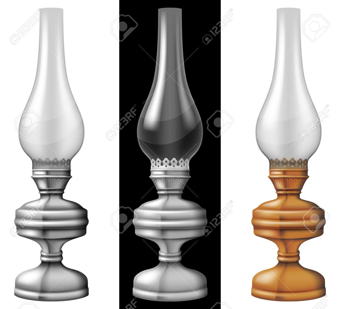 Set of three kerosene / oil lanterns / lamps. Photo-realistic vector illustration. - 162640553