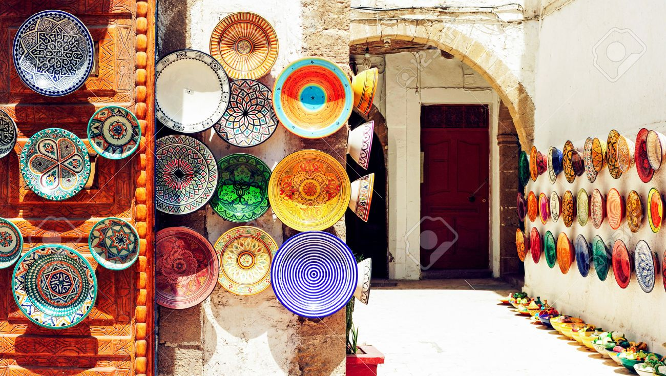 Traditional arabic handcrafted, colorful decorated plates shot at the market in Marrakesh, Morocco, Africa. - 53751068