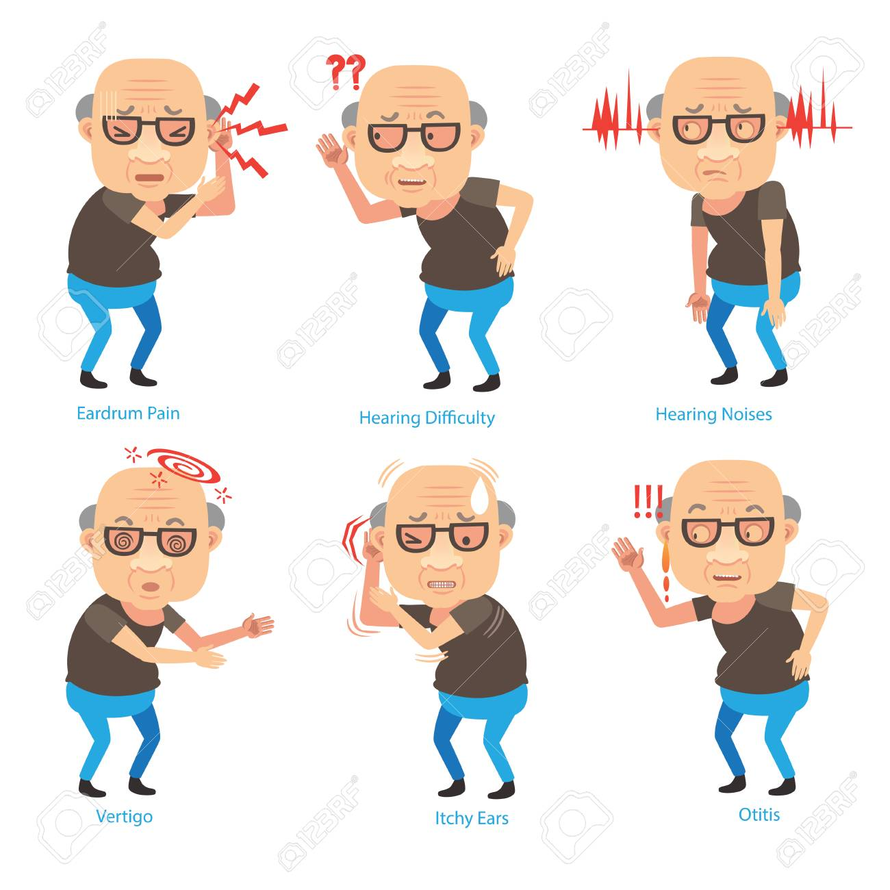 Old man ear problems cupping his ear having difficulty hearing. Cartoon vector illustration - 91984165