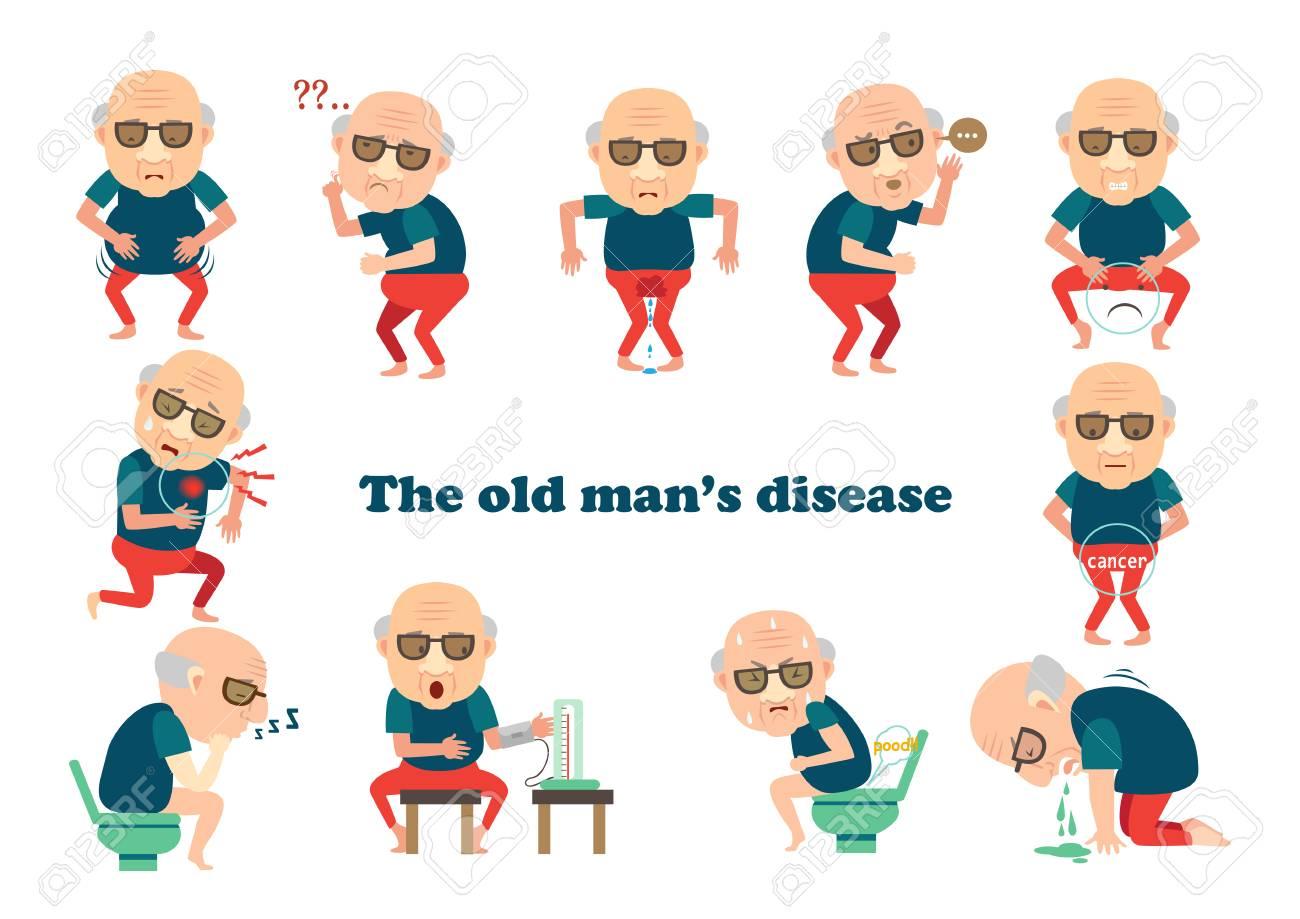 Man sick, old man's disease Info-graphic. Vector illustration. - 92917336
