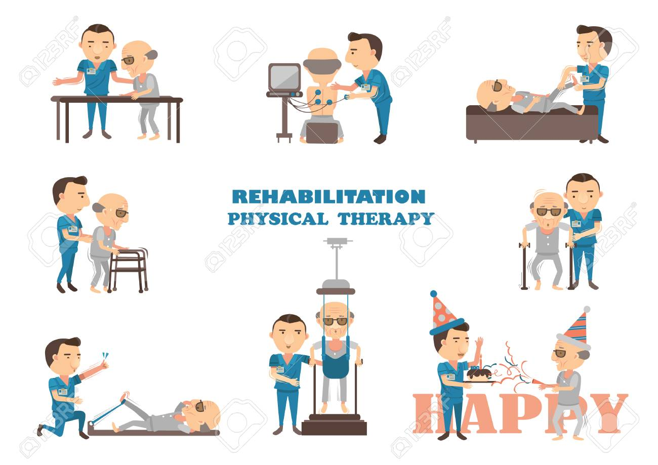 physical therapy is working caregivers. Cartoon vector illustration. - 93006718