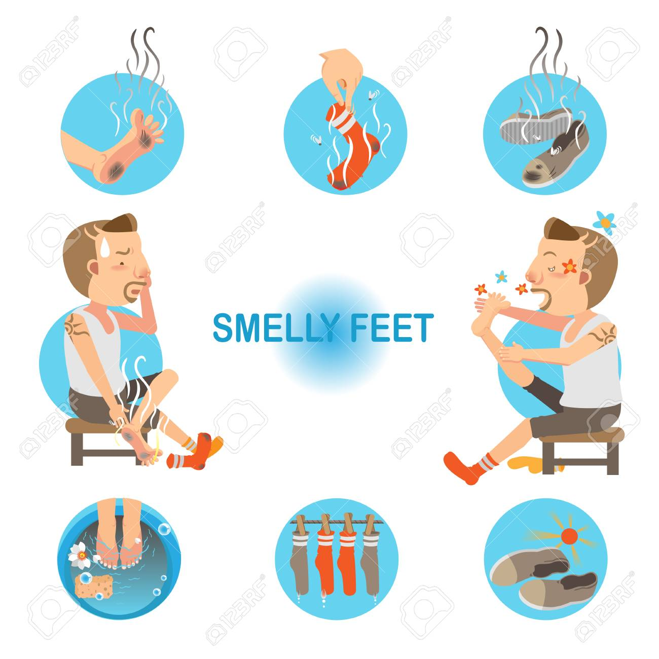 Cartoon man unpleasant odor of socks and sneakers on his feet. Vector illustration - 93128731