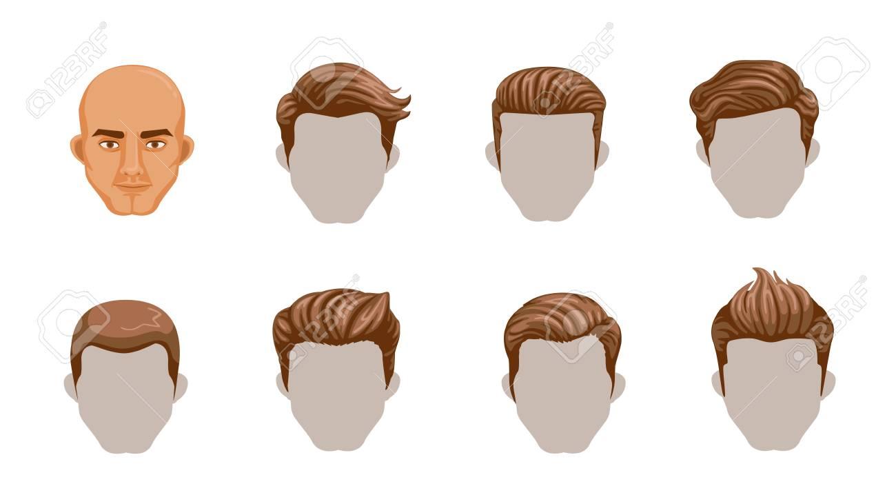 Set Of Men Cartoon Hairstyles Collection Fashionable Stylish TypesVector Illustration Isolated On
