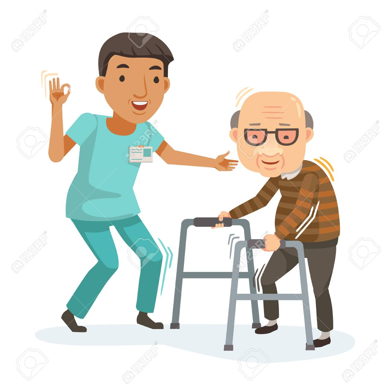 Nurse helps her grandmother to go to the walker. Caring for the elderly. Vector illustration in a flat style - 94018171
