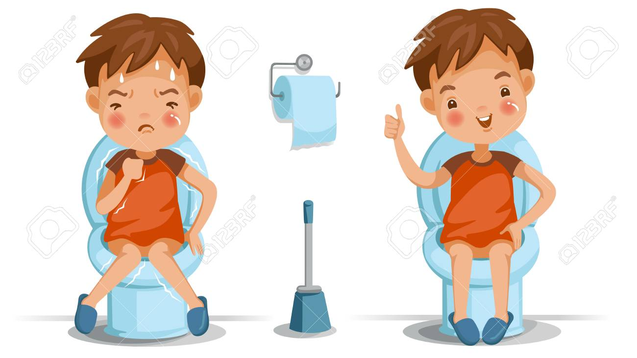 Boy is sitting on the toilet, conversely, emotions and gestures. Constipation, normal digestive system, bad, excellent. Children's health concept vector illustrations isolated on white background. - 97934446