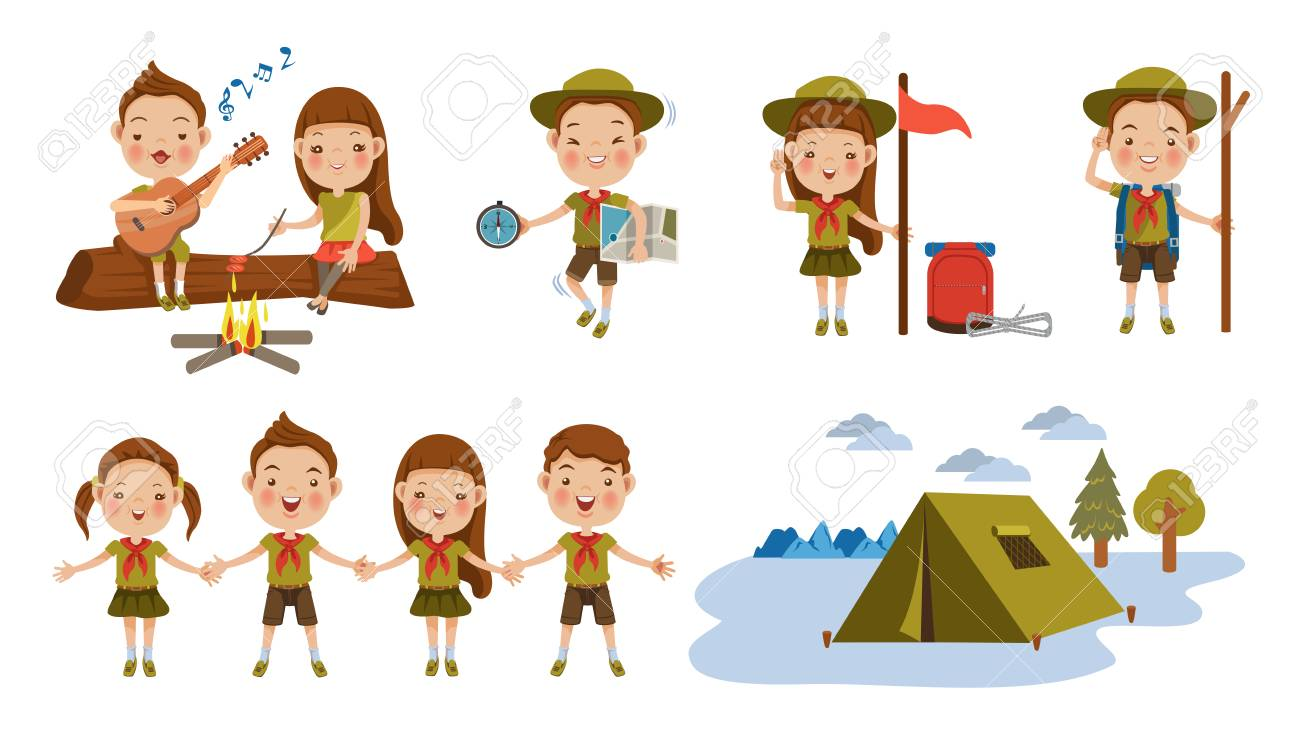 Scout honor character Set. Children hand in hand. hand gesture Camping. Boy playing guitar around the campfire. Kid studying a tour route map. camping tent. Roasting sausage on campfire. Funny camping - 97857068