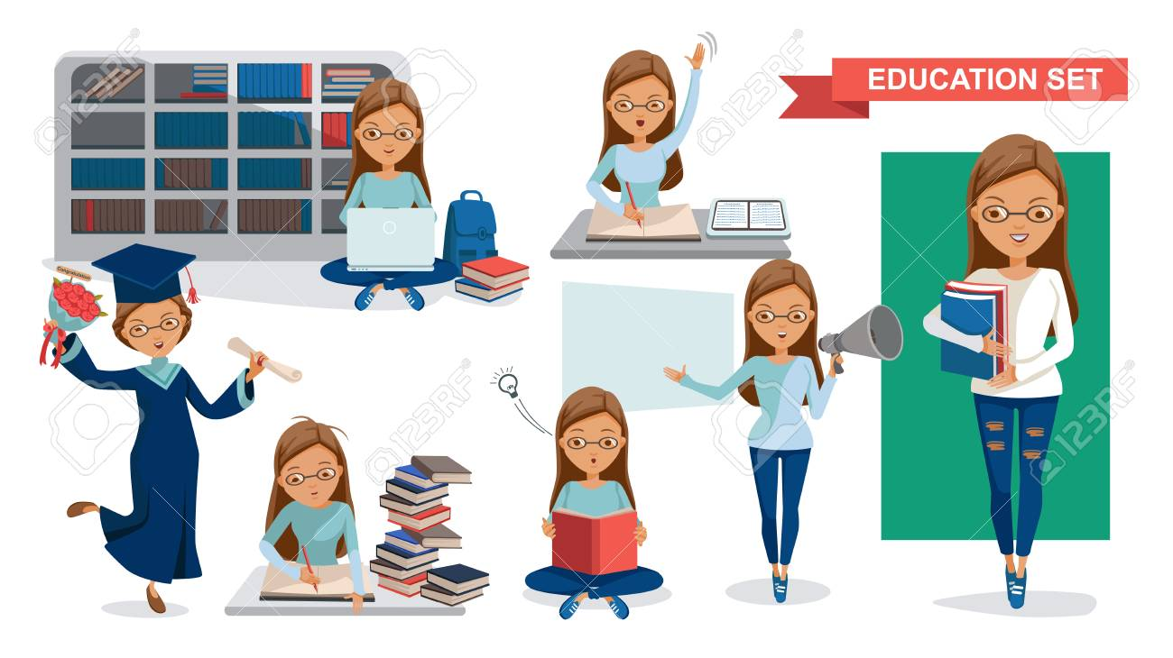 Student Women of Education set. Holding megaphone. Graduation, reading in the library, classroom lessons, Using computer, Student activity concept. character design.Vector illustrations isolated. - 103610251